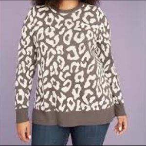 Lane Bryant Leopard Cheetah Sweater Grey White